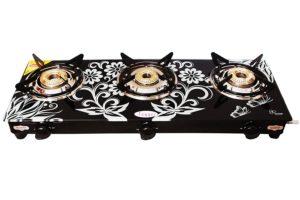 Suraksha Shine Fogger Digital Stainless Steel Body with Toughened Glass Top 3 Tri Pin Burner Gas Stoves