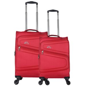 fly dot Splash Combo Set of 59 & 69 cms Nylon Soft-Sided Cabin Check-in Luggage 4 Wheels Suitcase Trolley Bag, Red